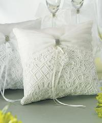 Bridal Tapestry Ring Pillows White or Ivory $39.98
