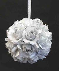 Silver Glitter Edged Rose Kissing Ball