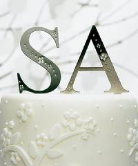 Brushed Silver Monogram with Crystals Cake Topper