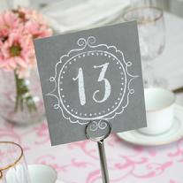 Vintage Grey Table Number Cards