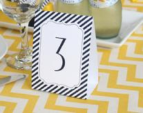 Navy Stripe Table Number Tent Cards