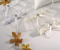 6146/6141 Scattered Pearls and Crystals Garter Set - White or Ivory