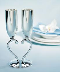 8028 Interlocking Heart Toasting Flutes with Blue Crystals