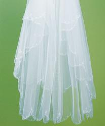 8223 Two Tier White Veil with Scalloped Edge & Embroidery