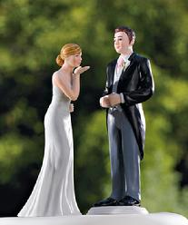 Blowing Kiss Bride and Morning Suit Groom Cake Toppers
