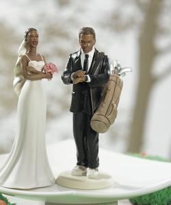 Golf Fanatic Groom Dark Skin Tone Cake Topper