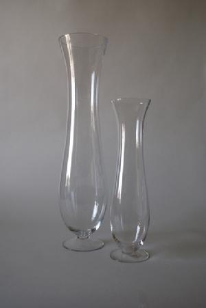 Tall Cylinder Flare Vases with Pedestal