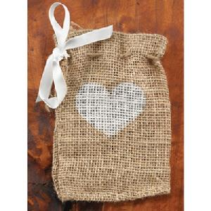 20821 Heart Burlap Favour Bags