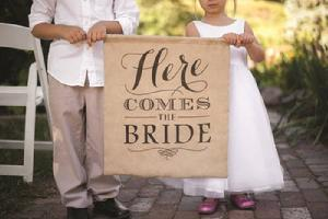 Rustic Here Comes the Bride Flower Girl Sign