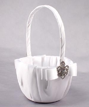 5037-08 Crowned Jewel Flower Girl Basket in White