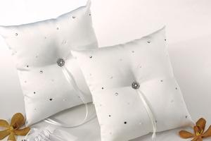 Scattered Pearls and Rhinestones Ring Pillows 6144 White or 6139 Ivory $34.98