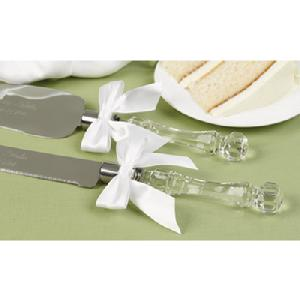 86302 Faceted Acrylic Handle Cake Knife Set