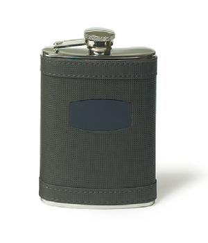 9342 Charcoal Grey Faux Leather Wrapped Flask