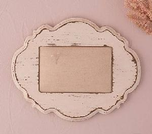 Distressed White Framed Ring Cushion